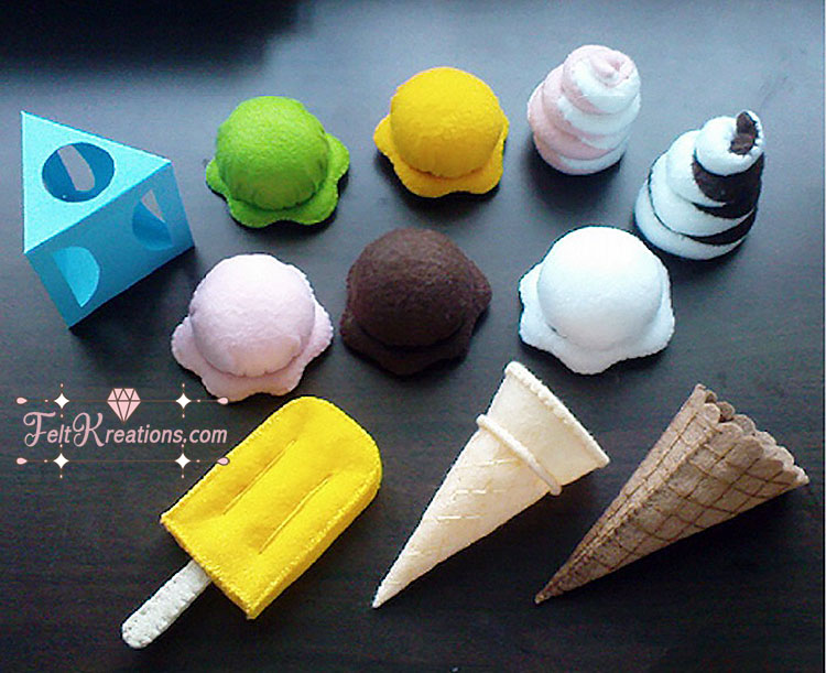 Felt ice cream pattern and tutorial