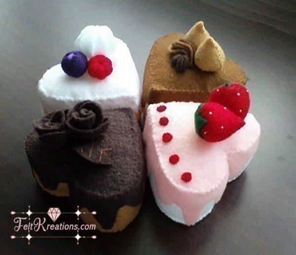 heart-shaped cake felt pattern
