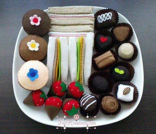 felt food patterns sandwich cupcake