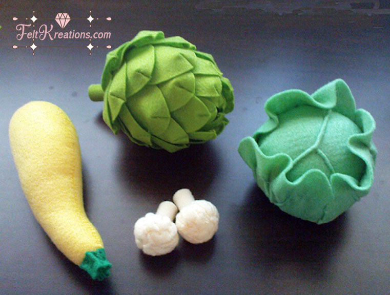 felt vegetables patterns tutorials fake food