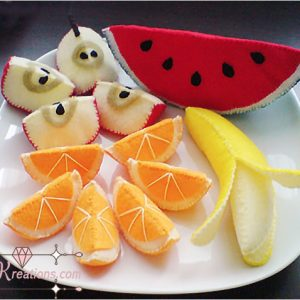felt fruits watermelon apple orange banana patterns