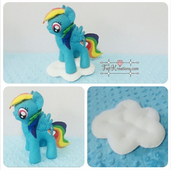 rainbow dash plush pony felt sewing pattern