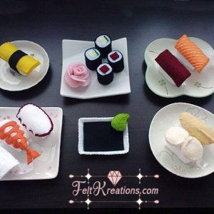 felt sushi set pattern pretend play