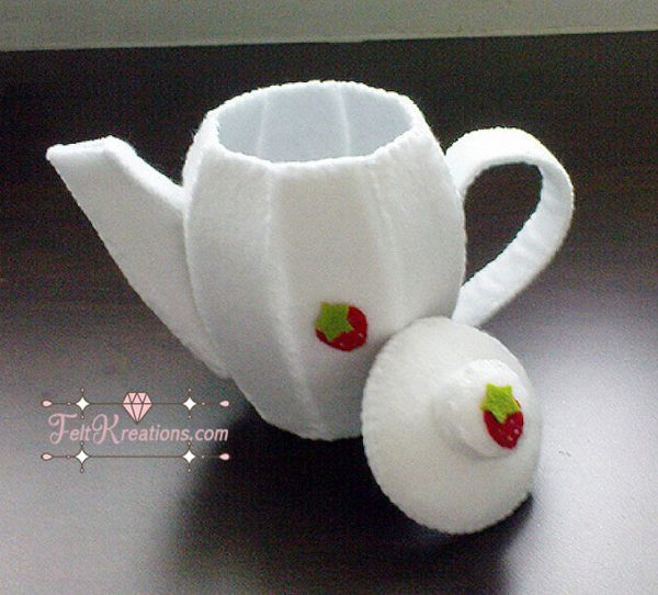 felt tea pot tea cup set patterns tutorials