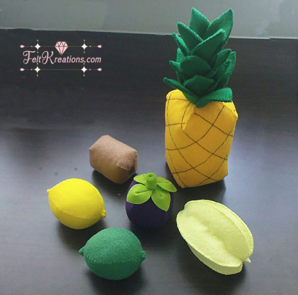felt fruits patterns pretend kitchen play set