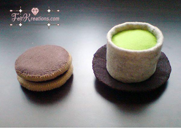 felt green tea dorayaki snack pattern