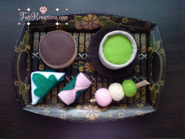 felt dorayaki japanese snack pattern
