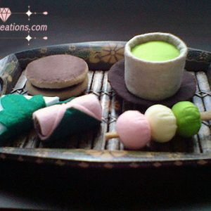 felt japanese green tea snack pattern