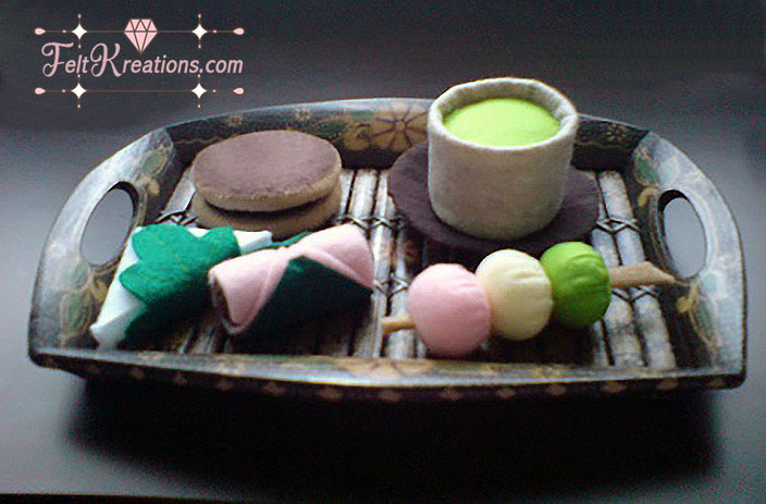 felt japanese green tea snack pattern