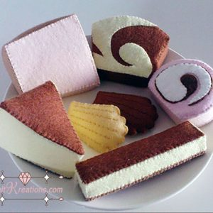 felt tea time cakes patterns cheesecake madeleine swiss roll