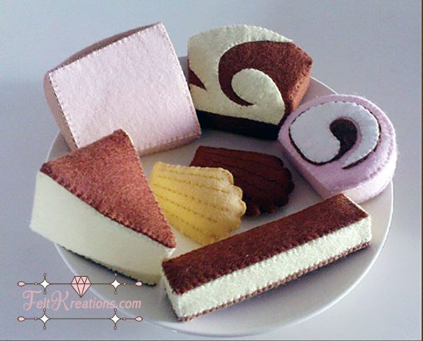 felt tea time cakes patterns cheesecake madeleine swiss roll