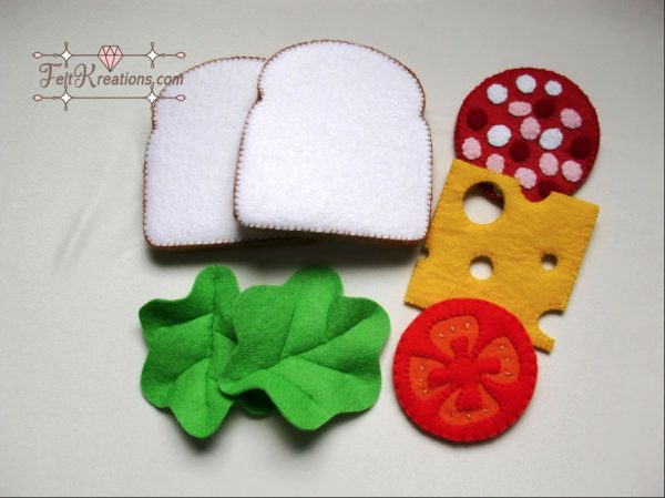 felt bread cheese tomato sewing pattern