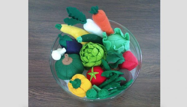 felt patterns vegetables pretend play set